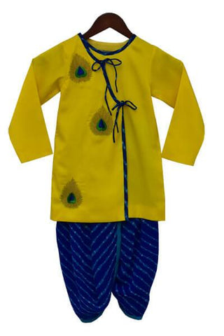 Yellow Kurta with Blue Bandhej Dhoti - The Ethnic Fix - Dubai - UAE