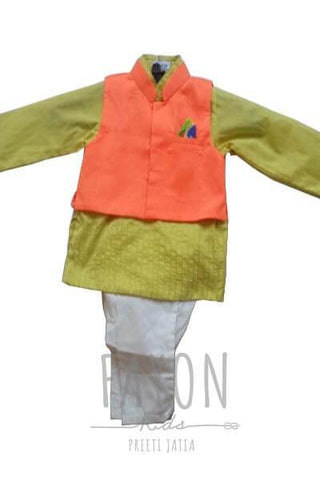 Orange & Yellow Nehru Jacket Set - The Ethnic Fix - Dubai - UAE
