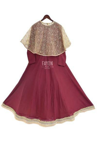 Burgundy Anarkali with Poncho - The Ethnic Fix - Dubai - UAE
