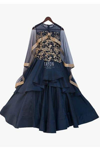 Dark Blue Anarkali & Embroidery on yoke with poncho - The Ethnic Fix - Dubai - UAE