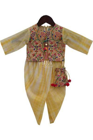 Lemon Yellow Tie & Dye Dhoti Jumpsuit with Phulkari jacket - The Ethnic Fix - Dubai - UAE