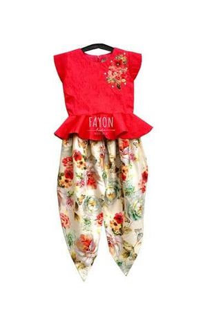 Coral Red Peplum Choli with Flower Embroidery on yoke with Off White Printed Dhoti - The Ethnic Fix - Dubai - UAE