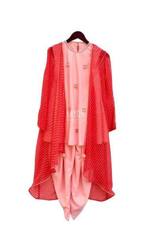 Peach Crepe Top with Dhoti and Georgette Stripe Cape - The Ethnic Fix - Dubai - UAE
