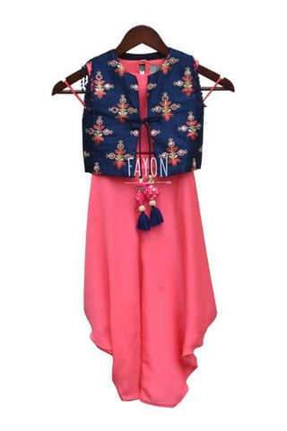 Candy Pink Satin Georgette Crop Top Dhoti with Embroidery Jacket - The Ethnic Fix - Dubai - UAE