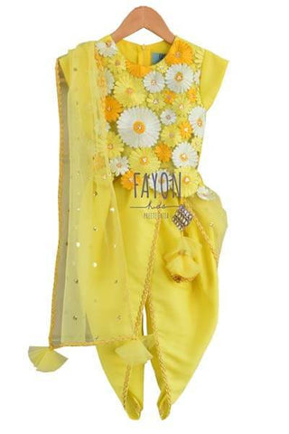 Yellow Flower Embroidery Dhoti Set - The Ethnic Fix - Dubai - UAE