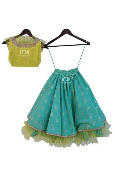 Green Top with Green Khadi Print Lehenga - The Ethnic Fix - Dubai - UAE