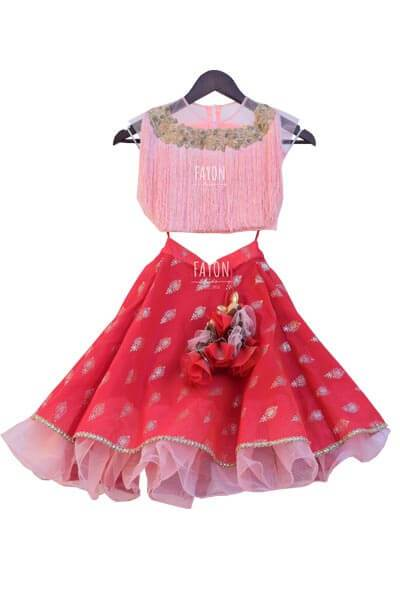 Peach Pink Top with Dark Pink Khadi Print Lehenga - The Ethnic Fix - Dubai - UAE