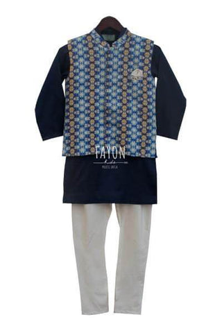Ajrag Print Nehru Jacket with Blue Kutra and Churidaar - The Ethnic Fix - Dubai - UAE