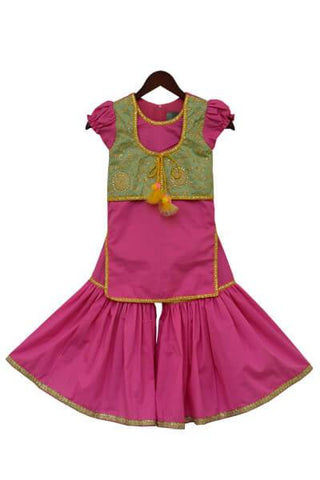 Pink Kurti with attached Jacket & Sharara - The Ethnic Fix - Dubai - UAE