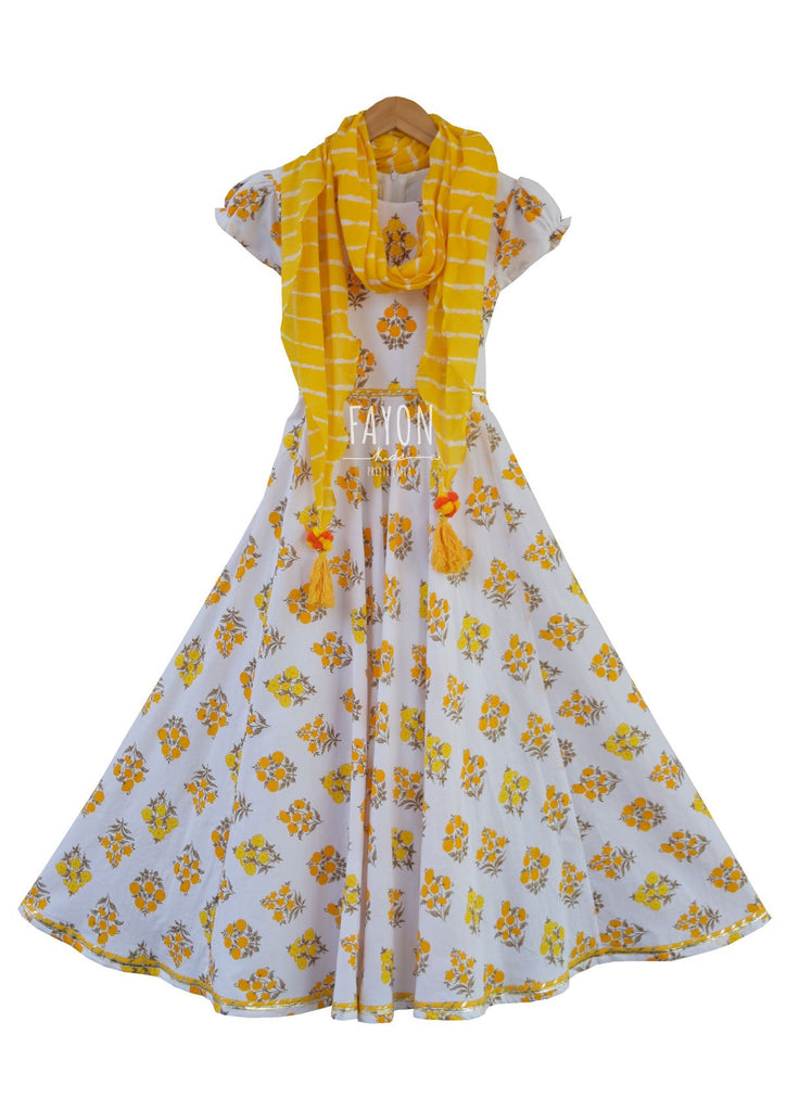 White Printed Anarkali Dress with Yellow Scarf - The Ethnic Fix - Dubai - UAE