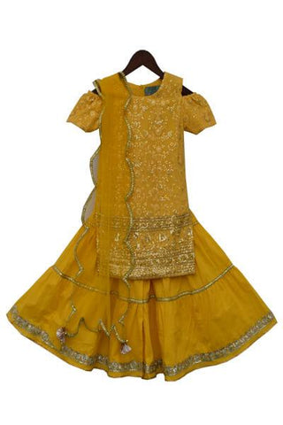 Yellow Cotton Lucknowi Embroidery Kurti with Sharara - The Ethnic Fix - Dubai - UAE
