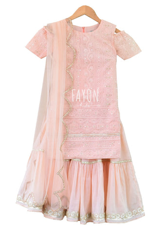 Peach Cotton Embroidery Thread work Kurti with Peach Sharara & Dupatta - The Ethnic Fix - Dubai - UAE