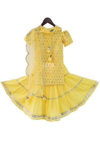 Yellow Cotton Silk Sequence Embroidery Kurti with Sharara - The Ethnic Fix - Dubai - UAE