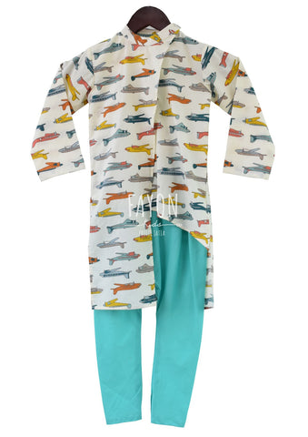 Airplane Print Kurta with Churidaar - The Ethnic Fix - Dubai - UAE
