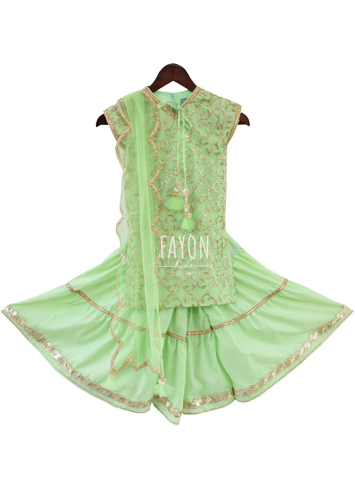 Mint Green Gota Embroidery Kurti with Sharara - The Ethnic Fix - Dubai - UAE