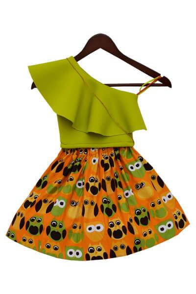 Green Crop Top with Printed Skirt - The Ethnic Fix - Dubai - UAE