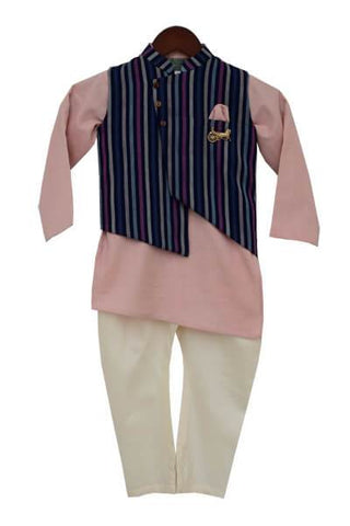 Onion Pink Kurta Nehru Jacket Set - The Ethnic Fix - Dubai - UAE