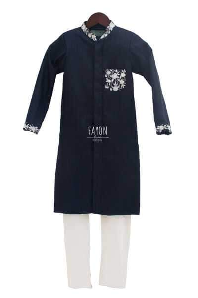 Dark Blue Embroidery Ajkan with Churidaar - The Ethnic Fix - Dubai - UAE