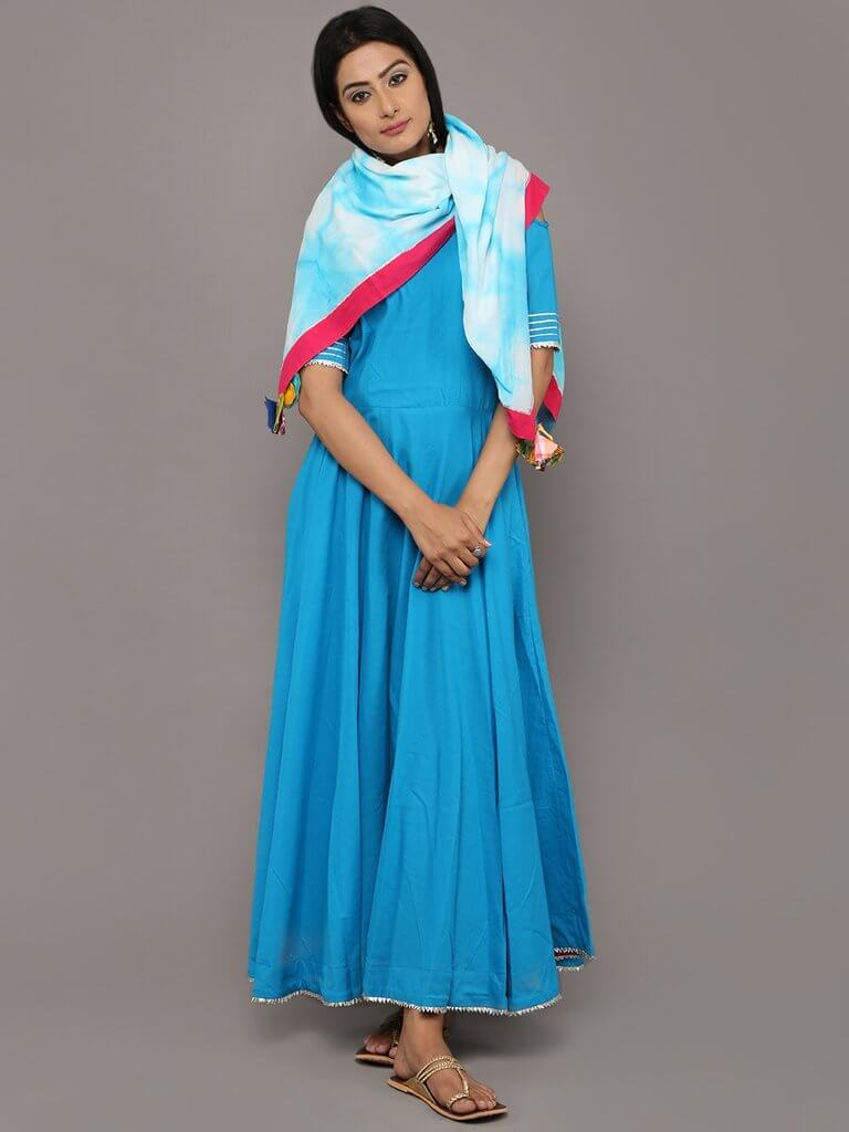 Neelkamal Long dress with shibori scarf - The Ethnic Fix - Dubai - UAE