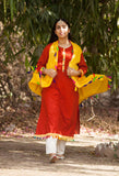 Rust Red Kurta Pants Jacket set - The Ethnic Fix - Dubai - UAE
