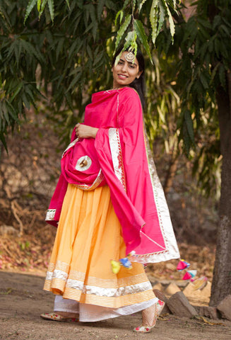 Sunshine Yellow Anarkali Set-Set of three