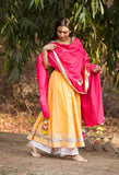 Sunshine Yellow Anarkali Set-Set of three - The Ethnic Fix - Dubai - UAE