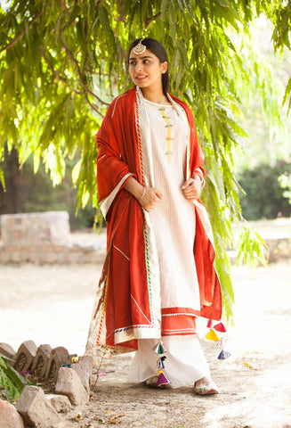 Ivory and Rust Red Double Kurta, Palazzo and dupatta -Set of Four