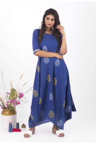 Bela Hand Block Print Dress - The Ethnic Fix - Dubai - UAE