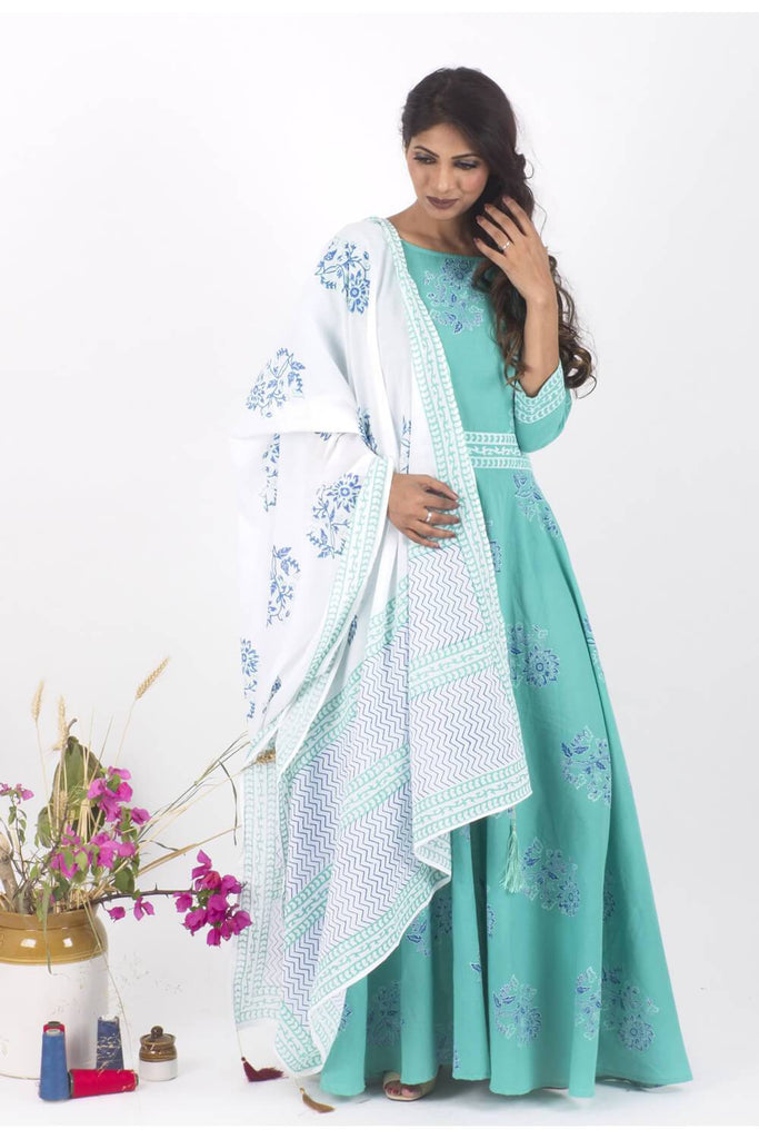 MintCreme Dress and Dupatta Set - The Ethnic Fix - Dubai - UAE