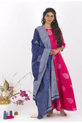 Rossane Cotton Dress and Dupatta Set - The Ethnic Fix - Dubai - UAE