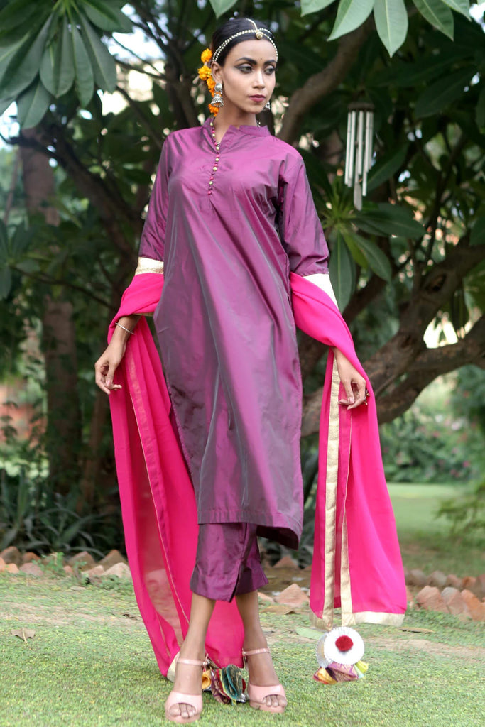 BerryPurple Silk Suit Set - The Ethnic Fix - Dubai - UAE