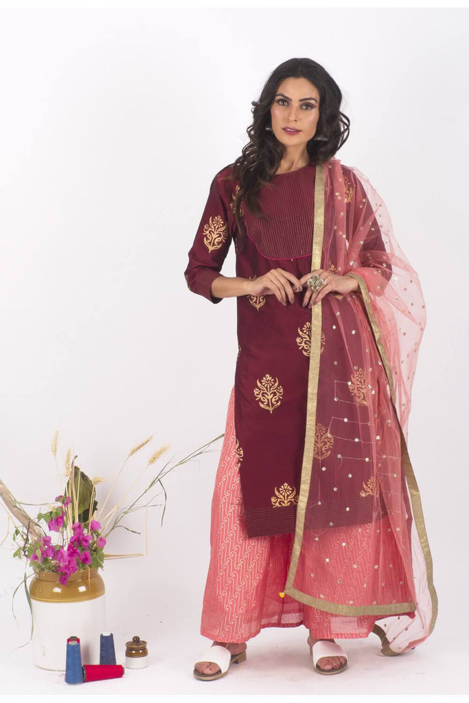 Nazara chanderi Gold Print Set - The Ethnic Fix - Dubai - UAE