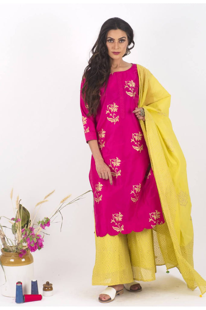 Afreen chanderi Gold Print Set - The Ethnic Fix - Dubai - UAE
