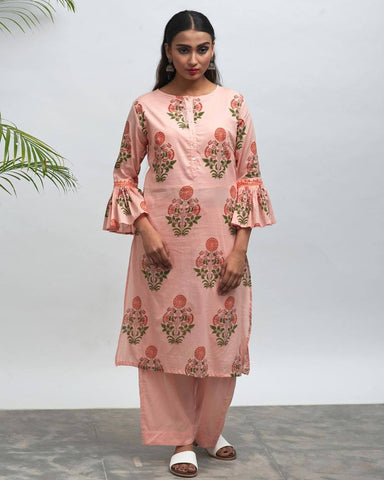 TeaParty Hand Block Printed Kurta Pant Set - The Ethnic Fix - Dubai - UAE