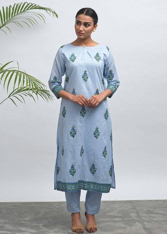 Praha Hand Block Printed KurtaPant Set 6 - The Ethnic Fix - Dubai - UAE