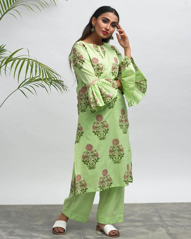 ShivaCafe Hand Block Printed Kurta Pant Set - The Ethnic Fix - Dubai - UAE