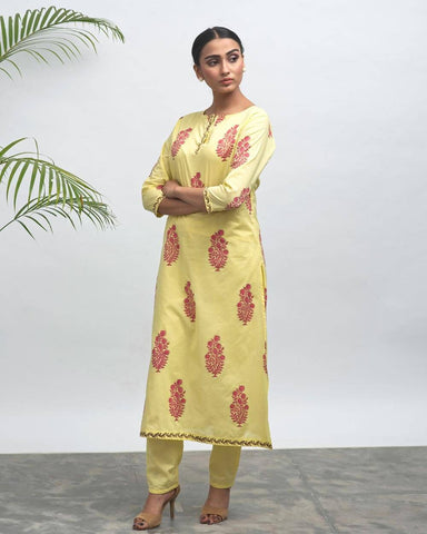 Sunflower Hand Block Printed KurtaPant Set - The Ethnic Fix - Dubai - UAE