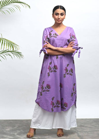 Gina Hand Block Printed Tunic  Palazzo Set - The Ethnic Fix - Dubai - UAE