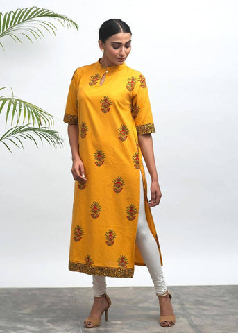 Kriya Hand Block Printed Kurta - The Ethnic Fix - Dubai - UAE