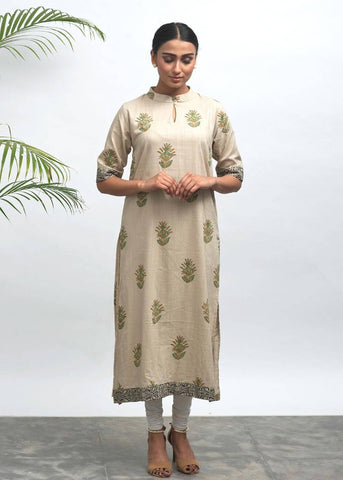 Reed Hand Block Printed Kurta - The Ethnic Fix - Dubai - UAE