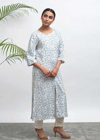 Blue Ink Hand Block Printed Kurta - The Ethnic Fix - Dubai - UAE