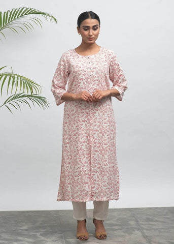 Red Ink Hand Block Printed Kurta - The Ethnic Fix - Dubai - UAE
