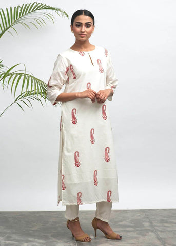 Robbin Hand Block Printed Kurta - The Ethnic Fix - Dubai - UAE