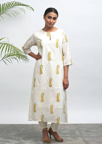 Pehel Hand Block Printed Kurta - The Ethnic Fix - Dubai - UAE