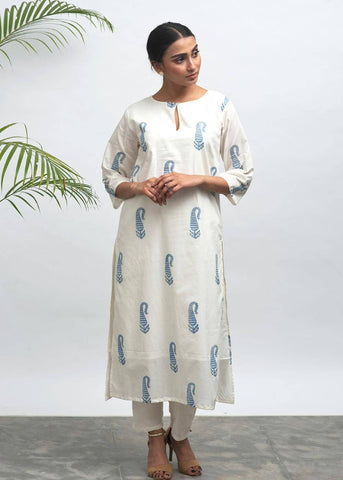 Indica Hand Block Printed Kurta - The Ethnic Fix - Dubai - UAE