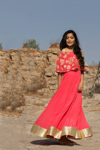Pink Off Shoulder Lehenga - The Ethnic Fix - Dubai - UAE