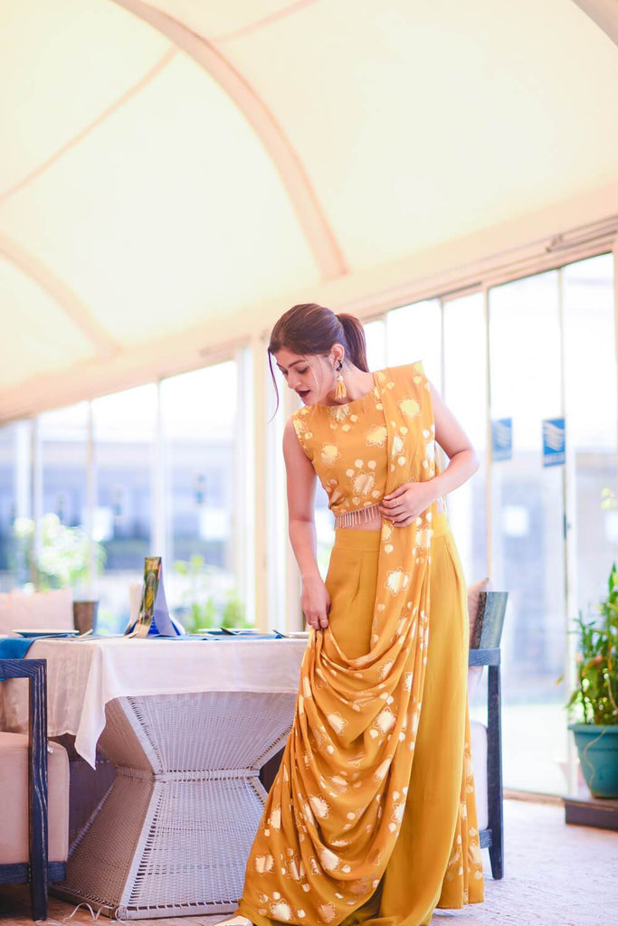 Mustard Pant saree - The Ethnic Fix - Dubai - UAE