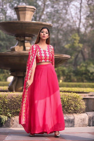 Pink Top with attached Cape and Palazzos - The Ethnic Fix - Dubai - UAE