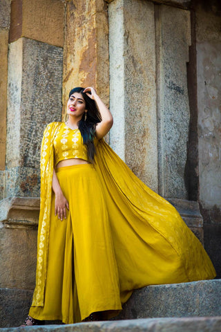 Mustard Top with attached Cape & Palazzos - The Ethnic Fix - Dubai - UAE