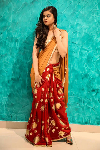 Red and Brown Saree - The Ethnic Fix - Dubai - UAE